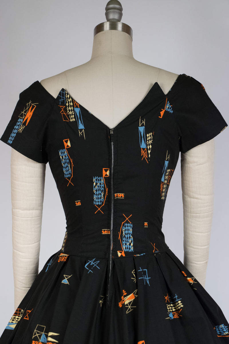 Killer 1950s Midcentury Modern Full Skirt Cotton Dress with Jagged Neckline