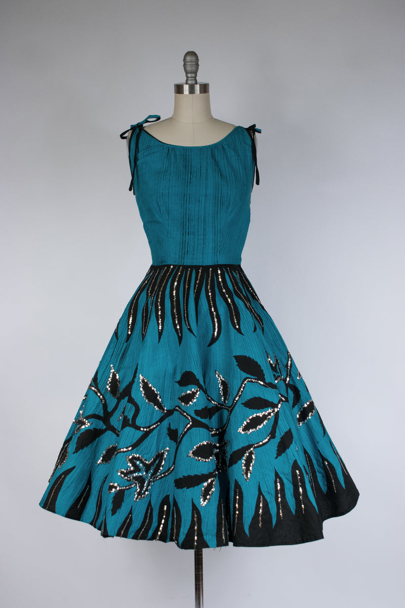Fantastic 1950s CLAUDIA YOUNG Party Dress with Wired Petal Bust and Large Rose Appliques