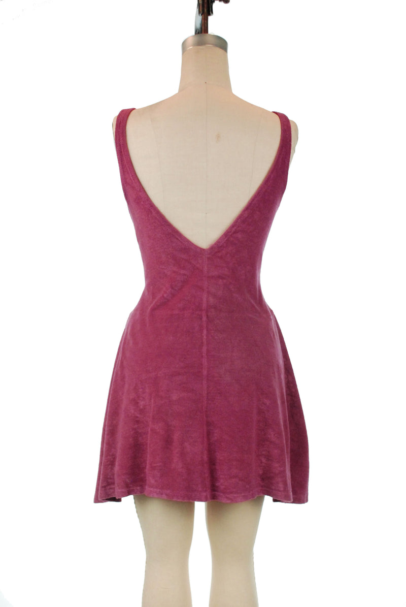 Gorgeous Web Foot 1930s Bathing Suit in Raspberry Colored Terry Lastex