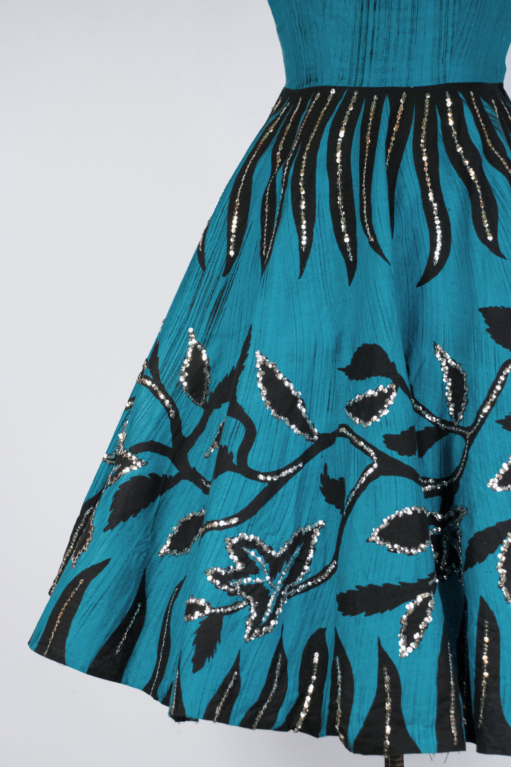 Fabulouse Mexican Sundress in Bold Turquoise with Climbing Branch Motif and Silver Sequins