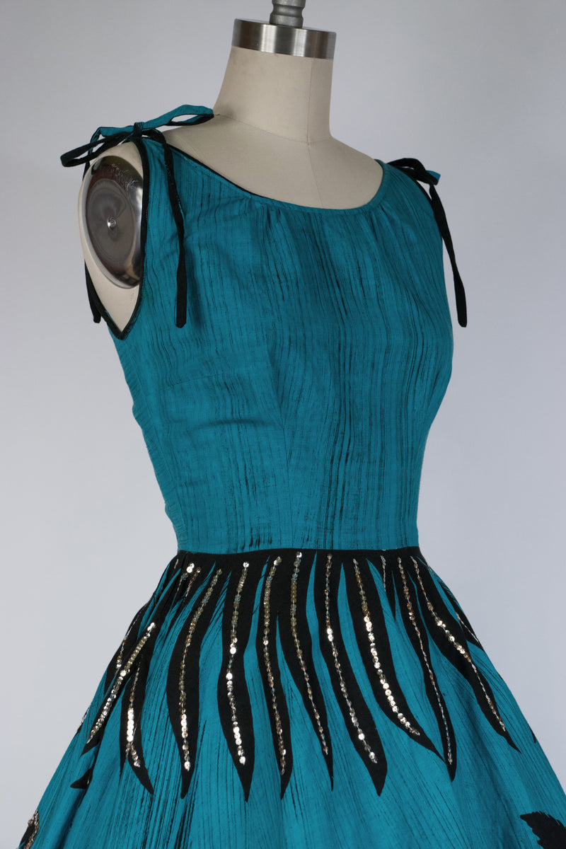 Vibrant 1930s Two Tone Kelly Green and Brown Dress in Silk Crepe and Silk Velvet