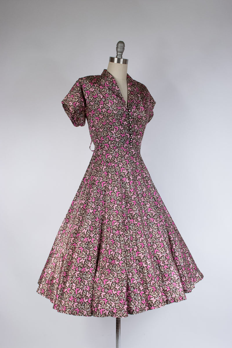 Layaway Deposit for: Lush 1950s Butterfly Print Shirtwaist Day Dres. in Pink, Fuchsia and Grey
