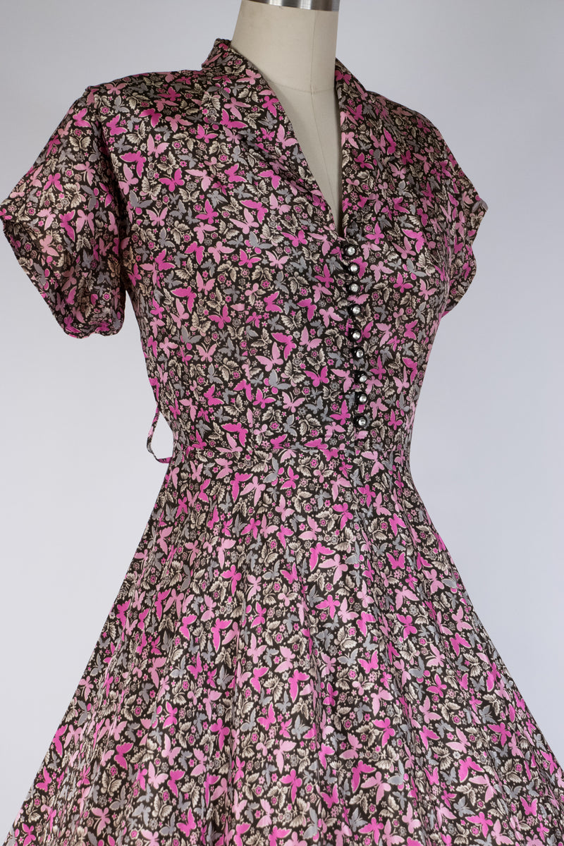 RESERVED Lush 1950s Butterfly Print Shirtwaist Day Dres. in Pink, Fuchsia and Grey