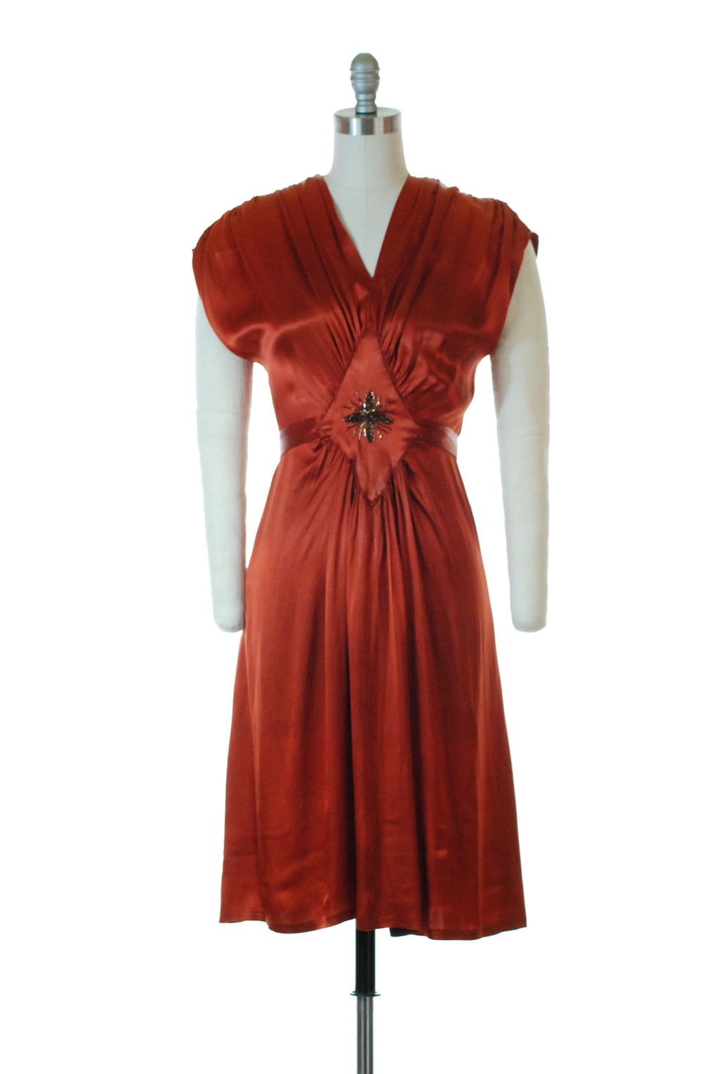 Stunning 1940s Homemade Cocktail Dress in Rust Orange Rayon Satin