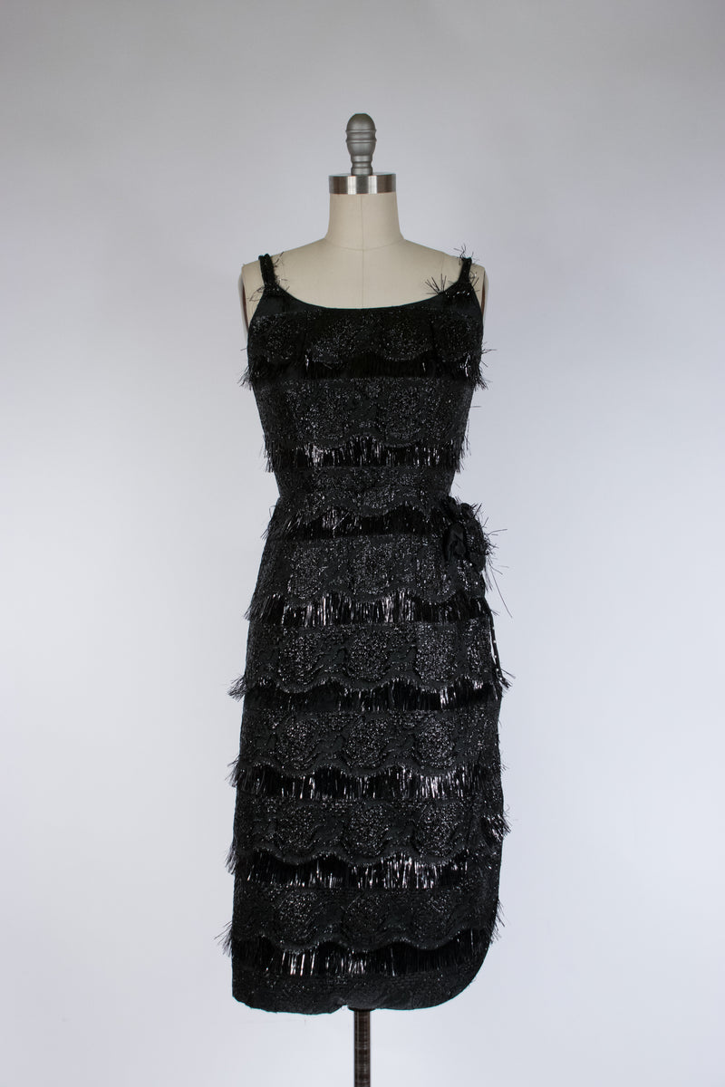 Bombshell 1960s Glittering Black Eyelash Lurex Cocktail Dress with Hip Rosette