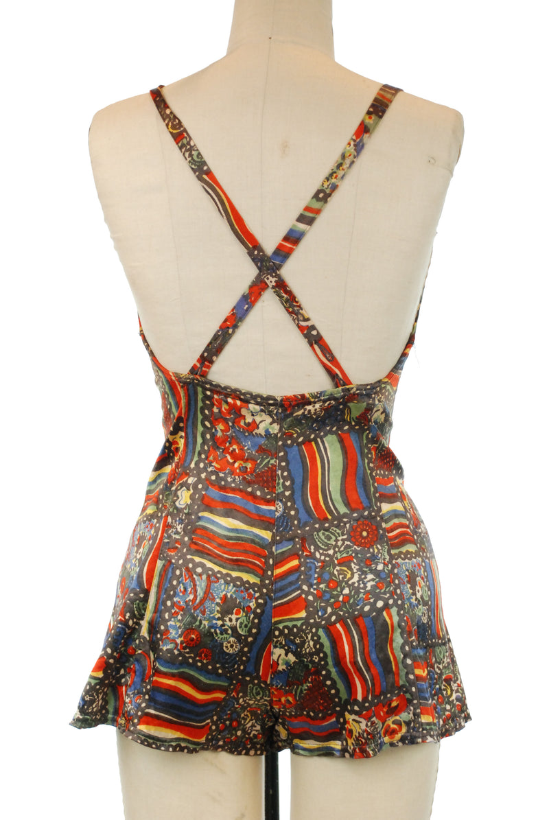 Rare 1930s Glorious Primary Rainbow and Floral Print Lastex Satin Swimsuit