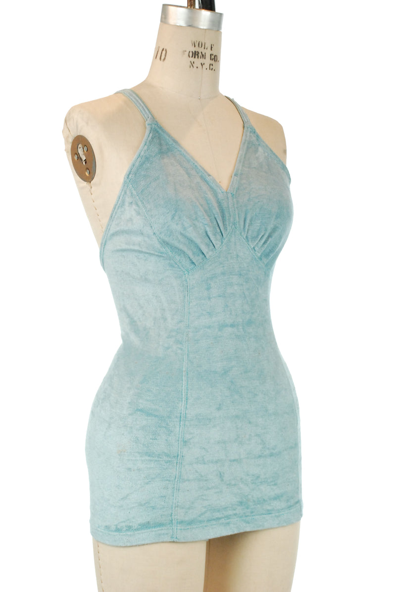 Gorgeous 1930s Webfoot Swimsuit in Aqua Rayon Lastex Terry