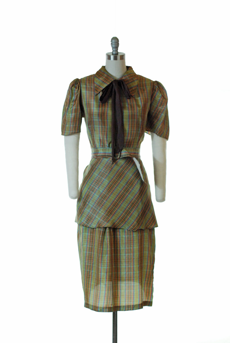 Sporty 1930s Plaid Day Dress with Puffed Sleeves and Bias Cut Peplum