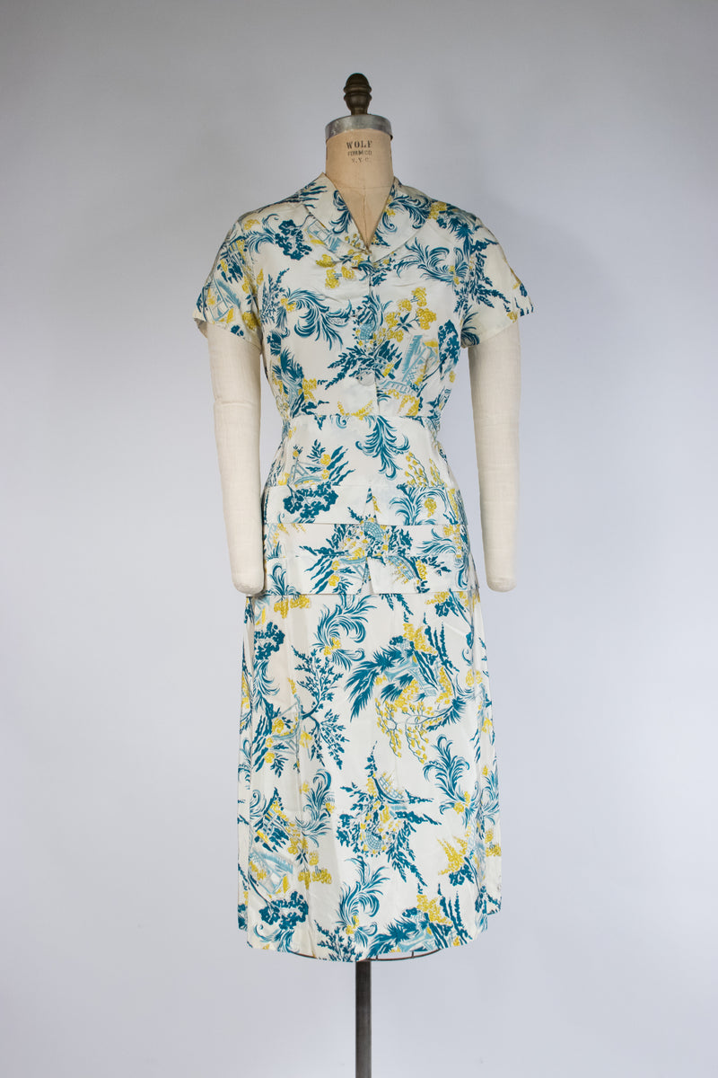 Gorgeous Post War 1940s Draped Rayon Dress with Asymmetric Styling