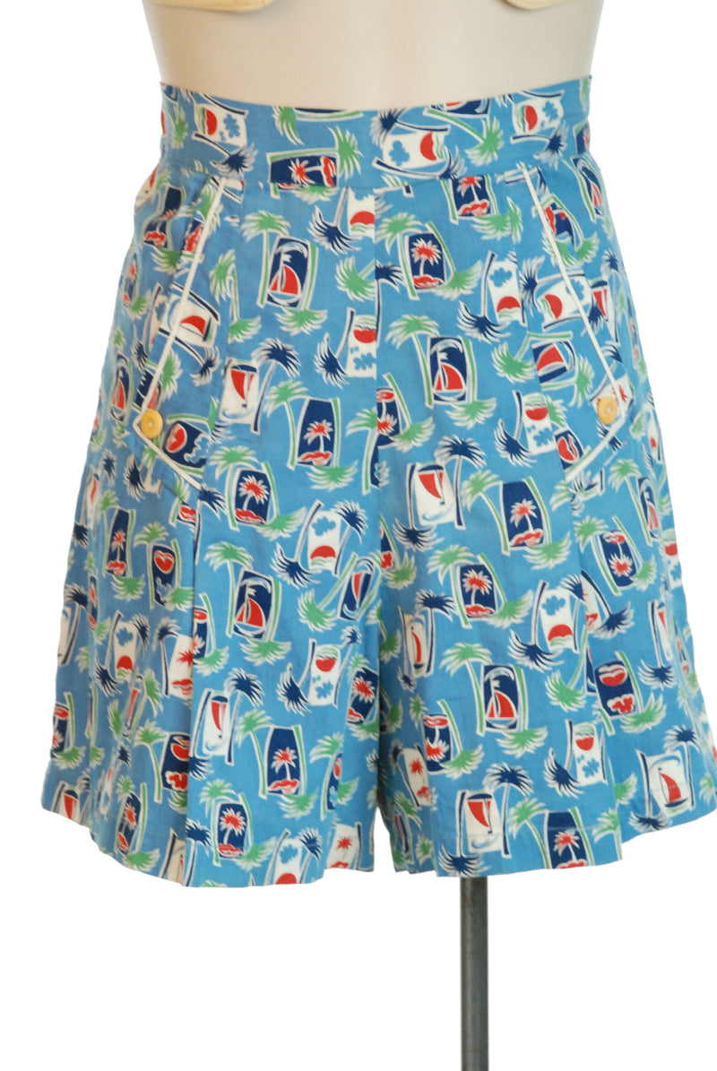Fantastic Early 40s Novelty Print Pin Up Shorts with Palm Trees and Sail Boats