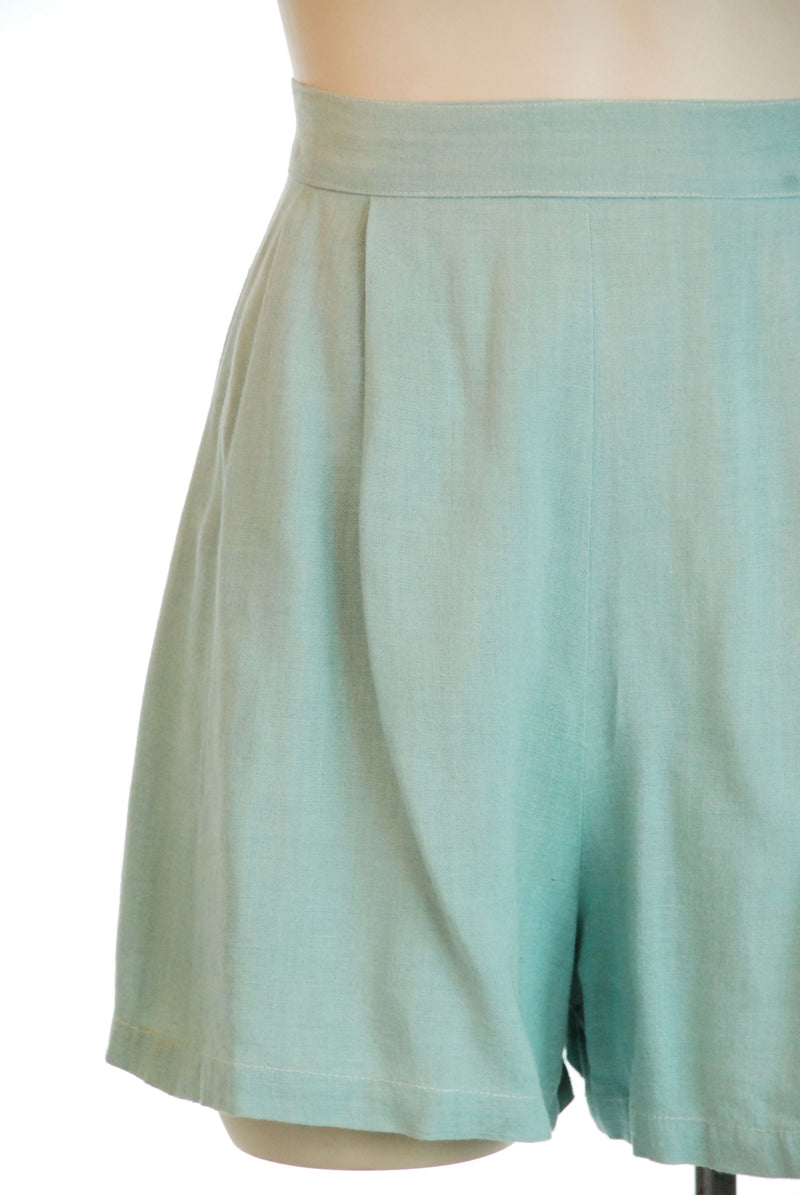 Rare 1930s Rayon-Linen Blend Seafoam Colored High Waist Pin Up Shorts