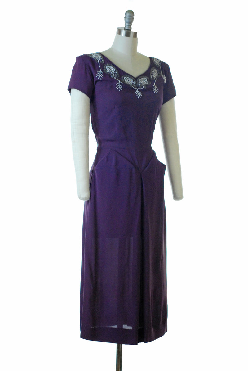 Saucy Late 1940s Rayon Cocktail Dress with Beaded Neckline and Structured Hips