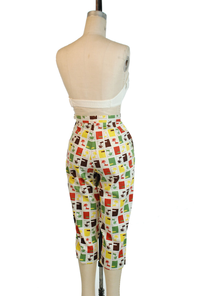 Killer 1950s Novelty Print Summer Pedal Pushers Pants with Palm Tree Motif
