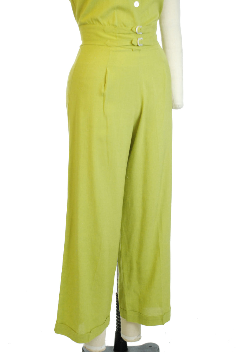 RARE 1940s Chartreuse Rayon-Linen Pantsuit with Cropped Blouse and Wide Straight Legs