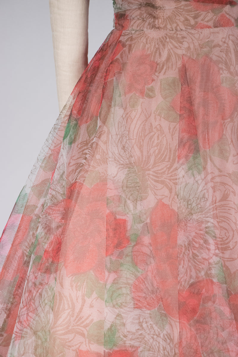 Gorgeous 1950s Tulle Party Print with Huge Printed Roses and Dramatic Teal Green Tulle Shoulder Sash