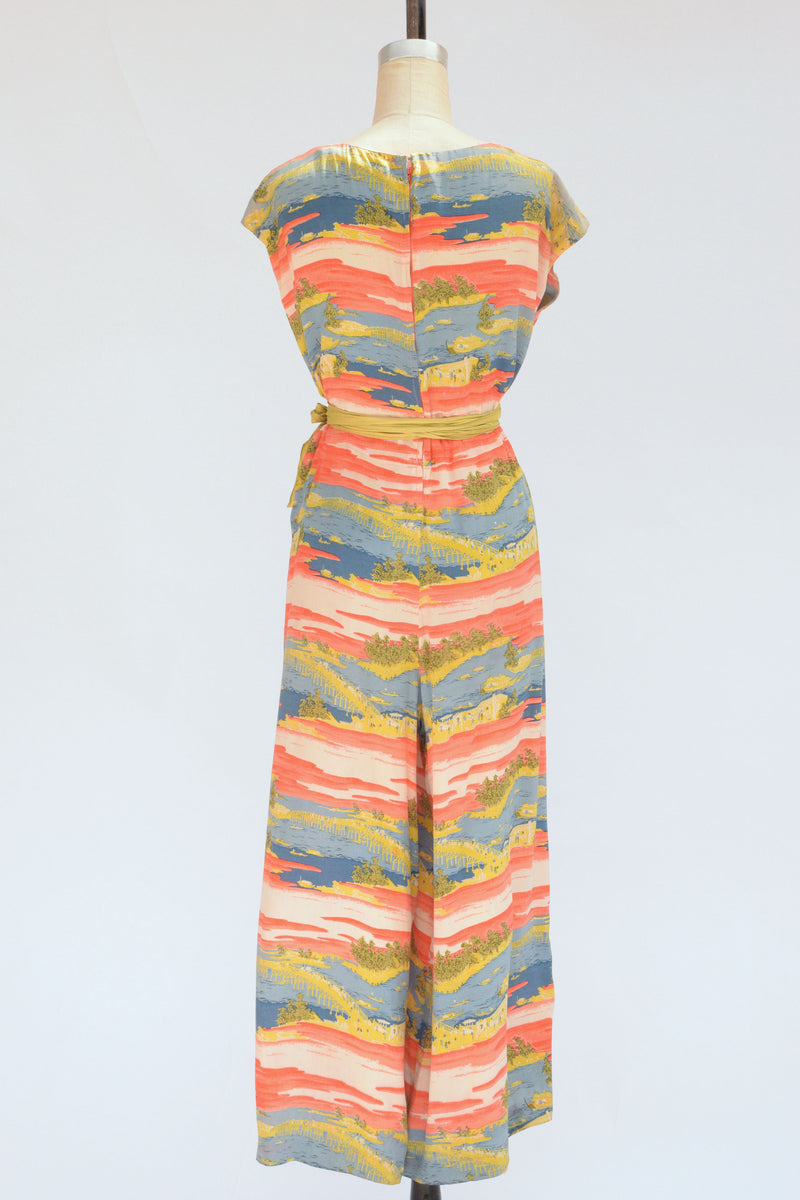 Rare 1940s or 50s Silk Jumpsuit in Beach Pajama Style with Saturated Print