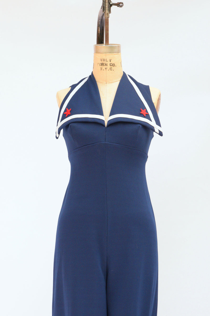 Killer 1970s Nautical Jumpsuit in Navy with Sailor Collar
