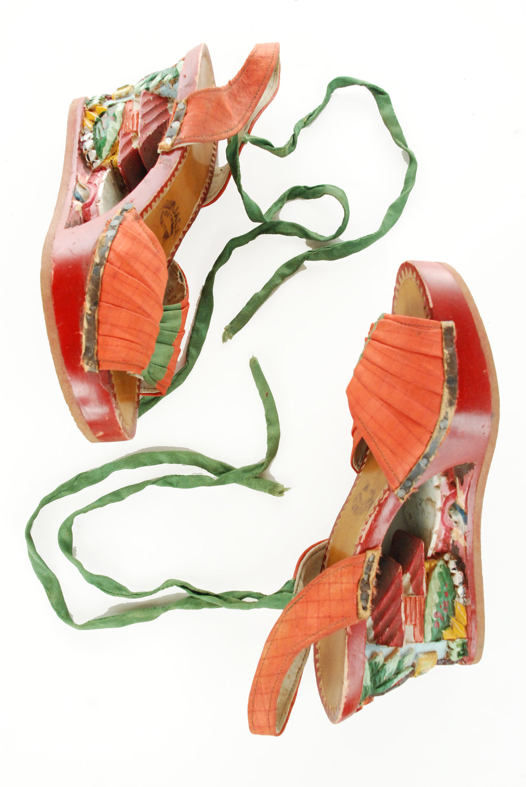 Fantastic 1940s or 1950s Carved and Painted Tourist Wedges with Cotton Uppers and Ankle Ties