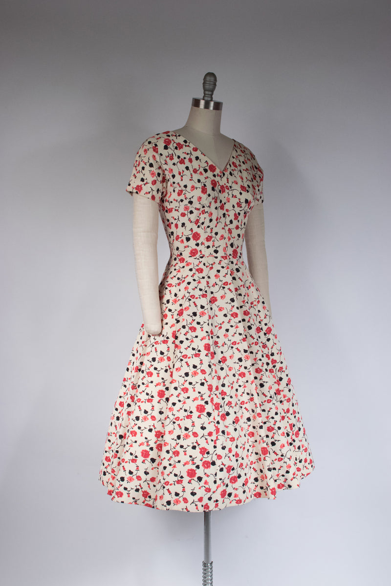 Lovely 1950s Faille Dress with Climbing Roses Print