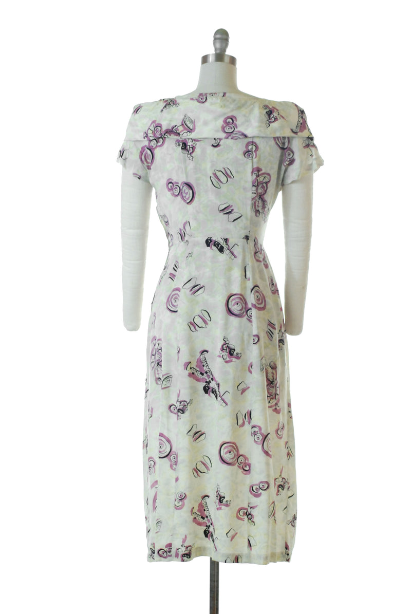 Post-War 1940s Silk Novelty Dress with Unique Print of People Made of Shells