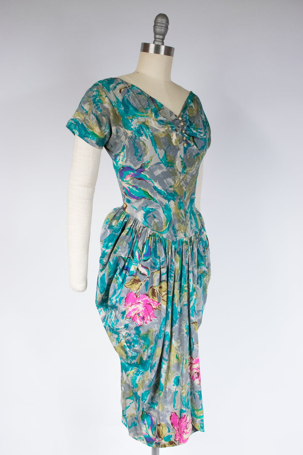 Striking Postwar 190s Dramatic Silk Dress with Bold Roses Print and Uniquely Draped Skirt