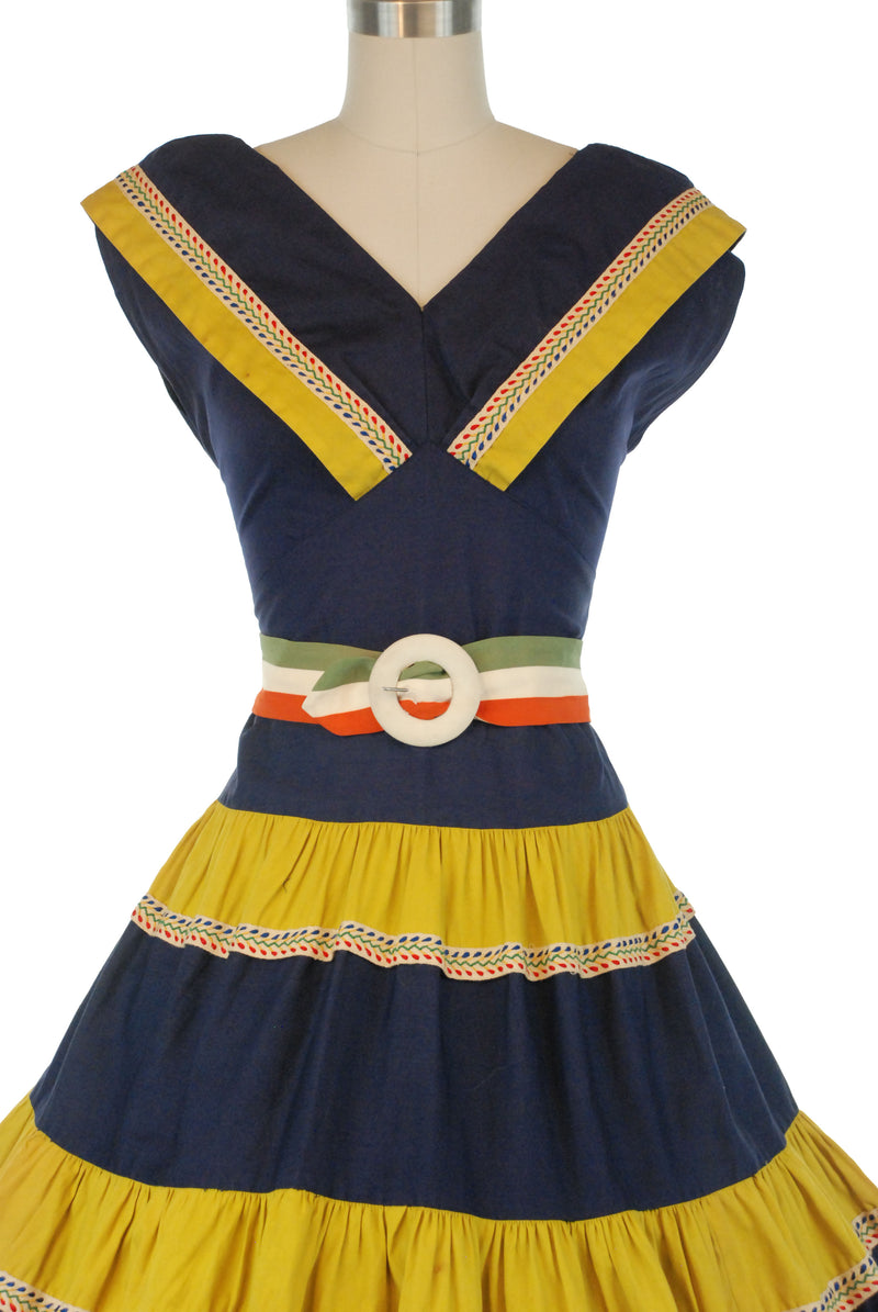 Bold 1950s Cotton Colorblock Day Dress in Navy Blue and Chartruese with Ribbon Trim