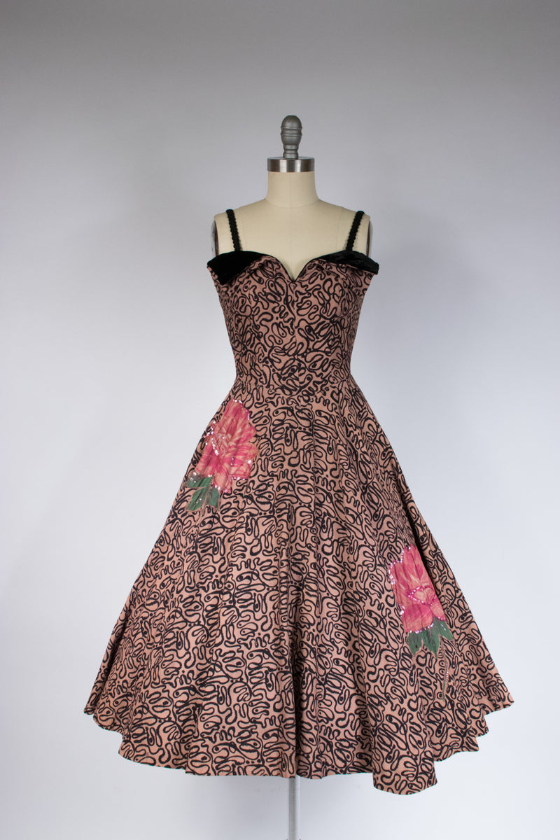 Gorgeous 1950s PHILIP HULITAR Oyster Silk Satin Cocktail Dress with Asymmetric Bodice and Roses