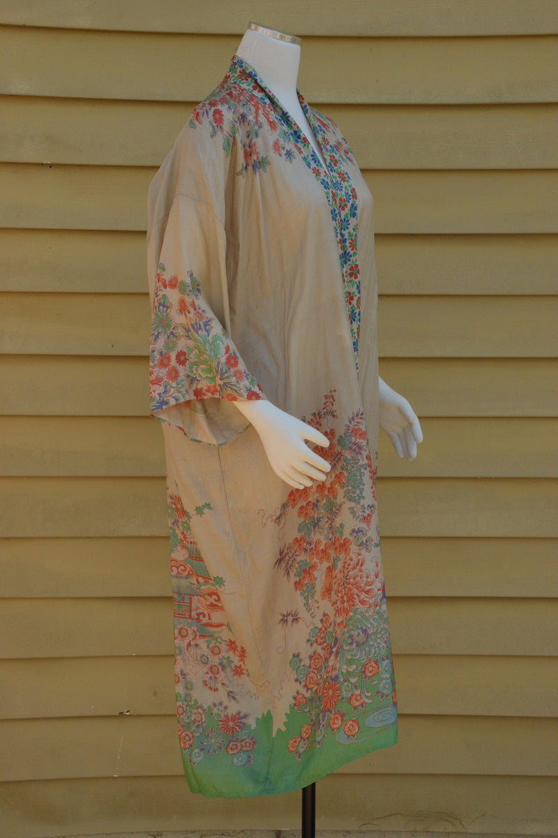 Exquisite 1920s Pongee Silk Robe with Exceptional Pagoda Motif