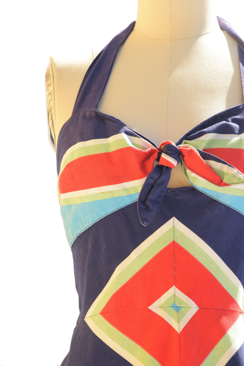 Fantastic 1970s Halter Summer Sundress with Chevron Stripes As-Is