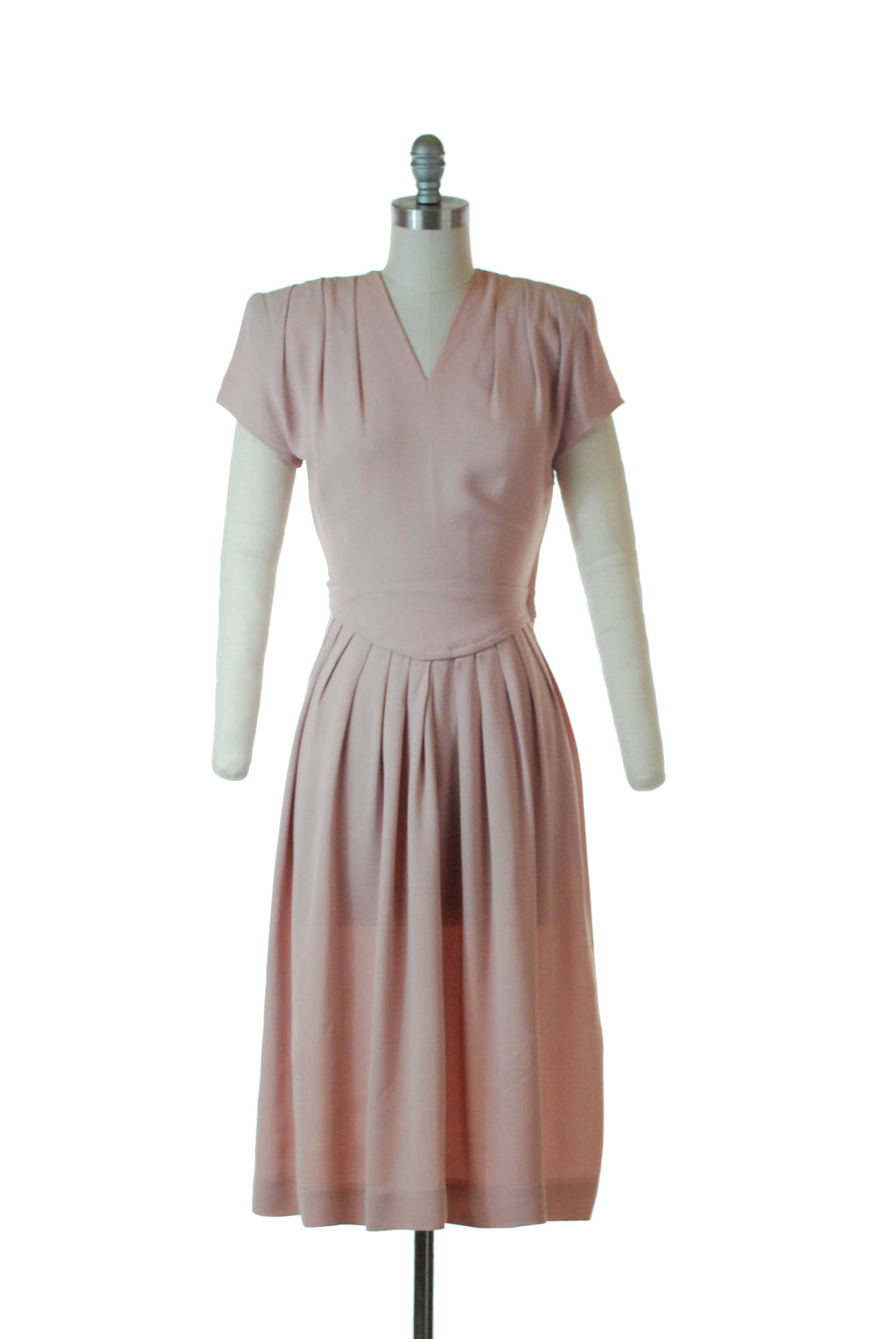 Sweet 1940s Pink Rayon Dress with Pleated Skirt by Carlye