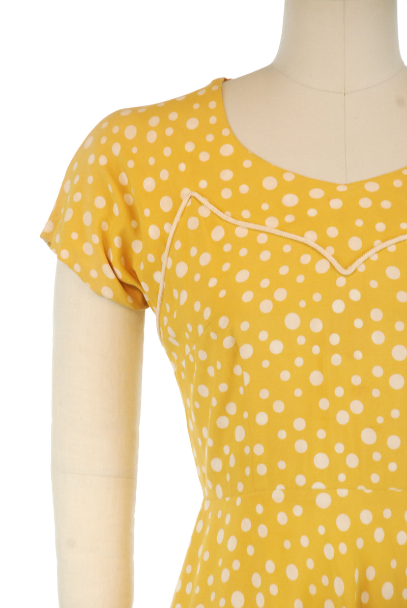 Rich Yellow 1940s Polka Dot Day Dress with Bias Cut Skirt