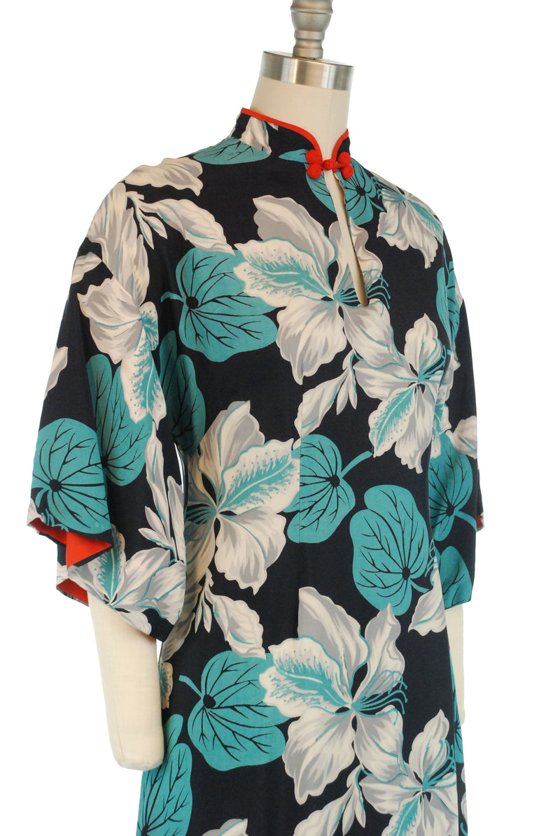 Exquisite Green 40s Hawaiian Pake Muu by Kalakaua in a Bold Hibiscus Print