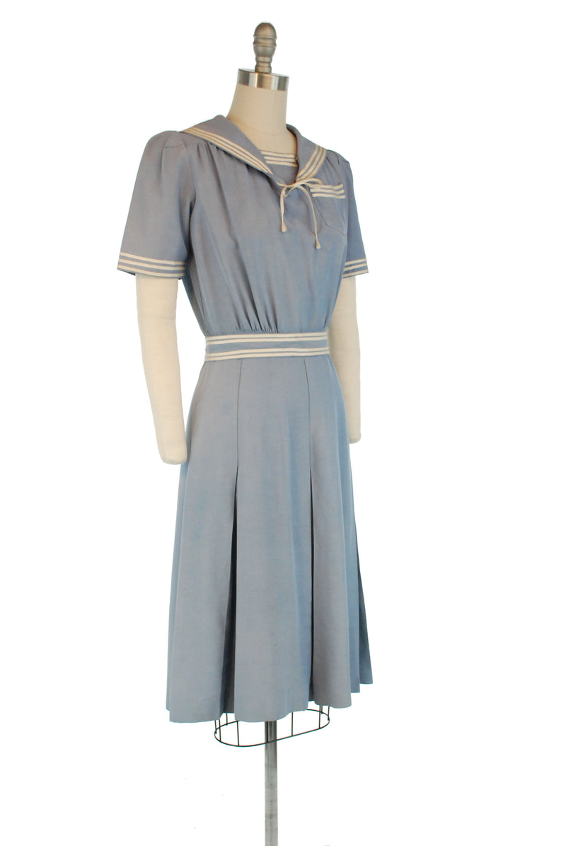 AS IS Darling Vintage 1940s Sailor Dress in Faded Blue Faille