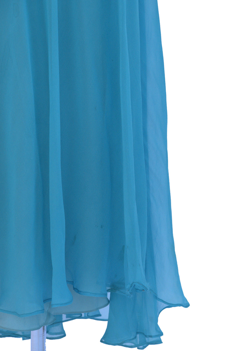 Old Hollywood 1930s Starlet Gown in Brilliant Aqua with Low Back