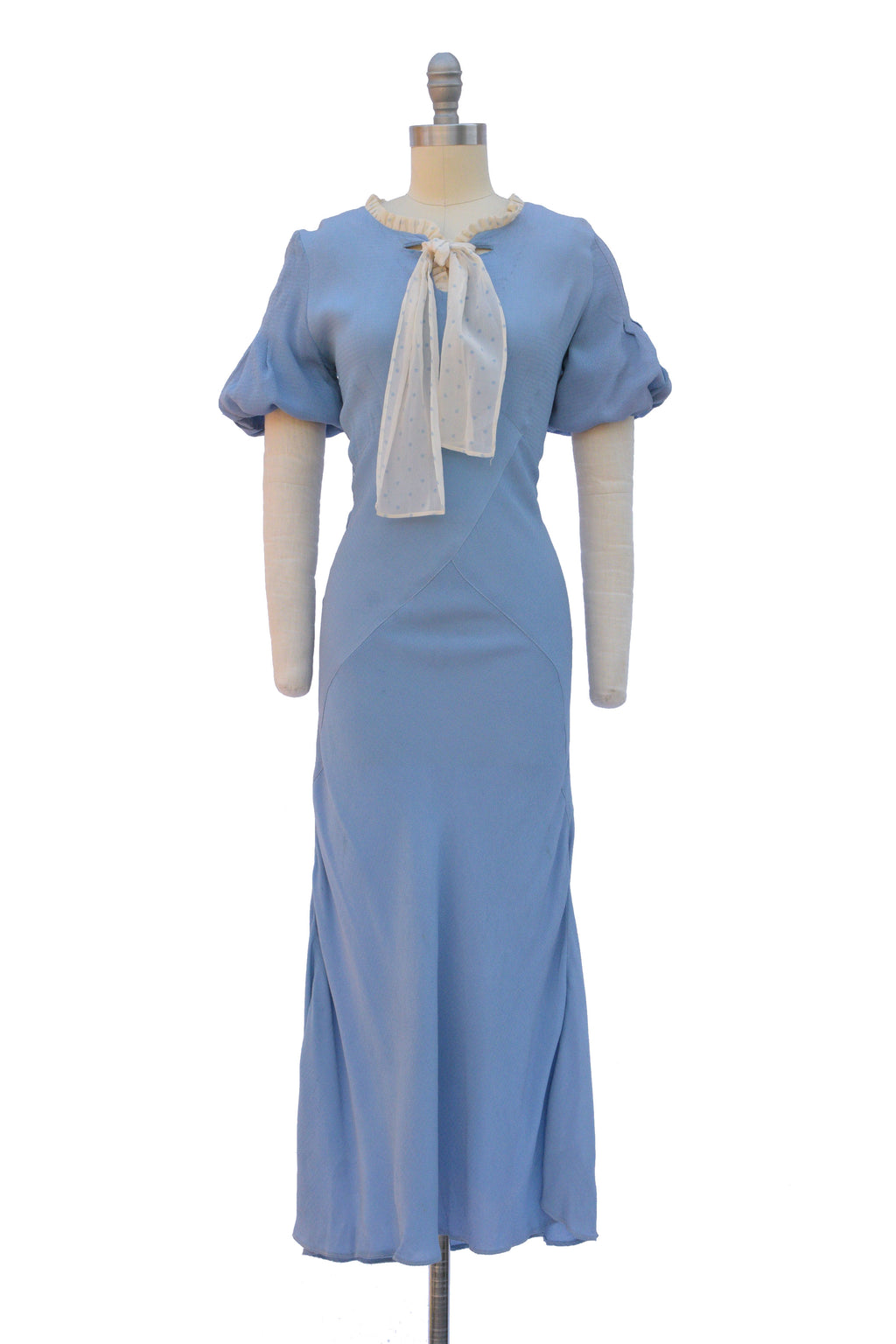 Gorgeous 1930s Perwinkle Bias Cut Day Dress with Bubble Sleeves and Necktie