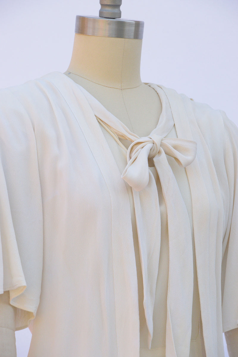 Prettiest 1930s Two Piece Dress Set with Necktie and Jacket in Off White Rayon Crepe.