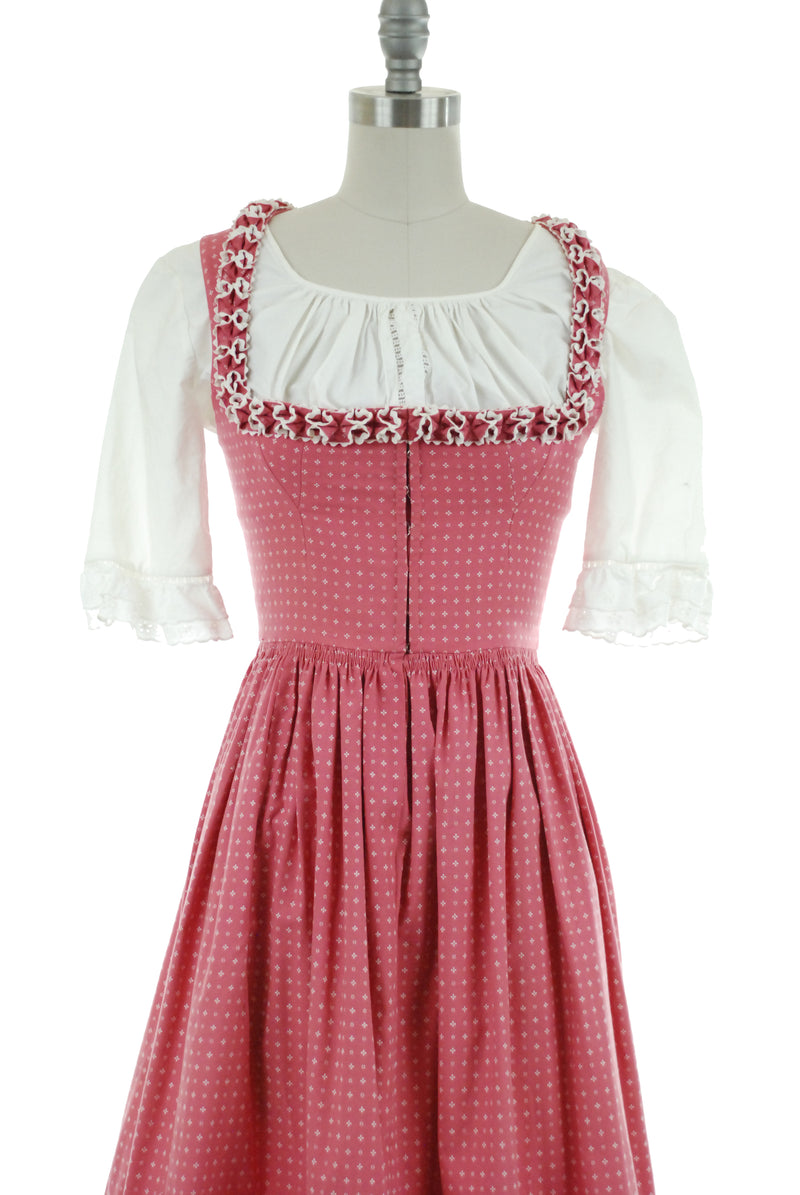 Fantastic Rare 1950s Authentic Lanz Dirndl in Rose Pink with Ruffled Trim and Original Blouse