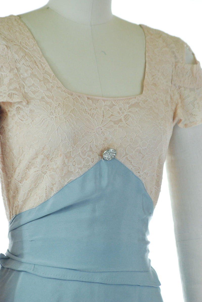 Lovely 1930s Ivory Lace and Cornflower Blue Silk Tiered Skirt Full Length Gown
