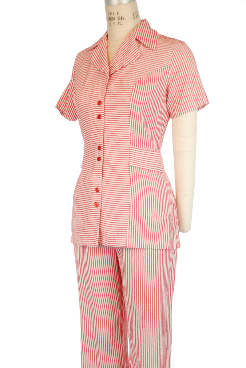 "Vintage 1940s? Seersucker Pajamas with ""Belted"" Waist and Hip Pockets"