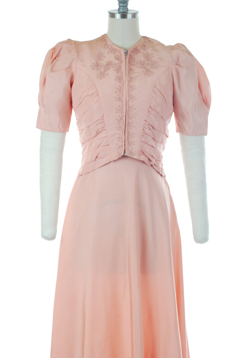 Sweet 1930s Pink Dress and Jacket Set with Soutache and Puffed Sleeves