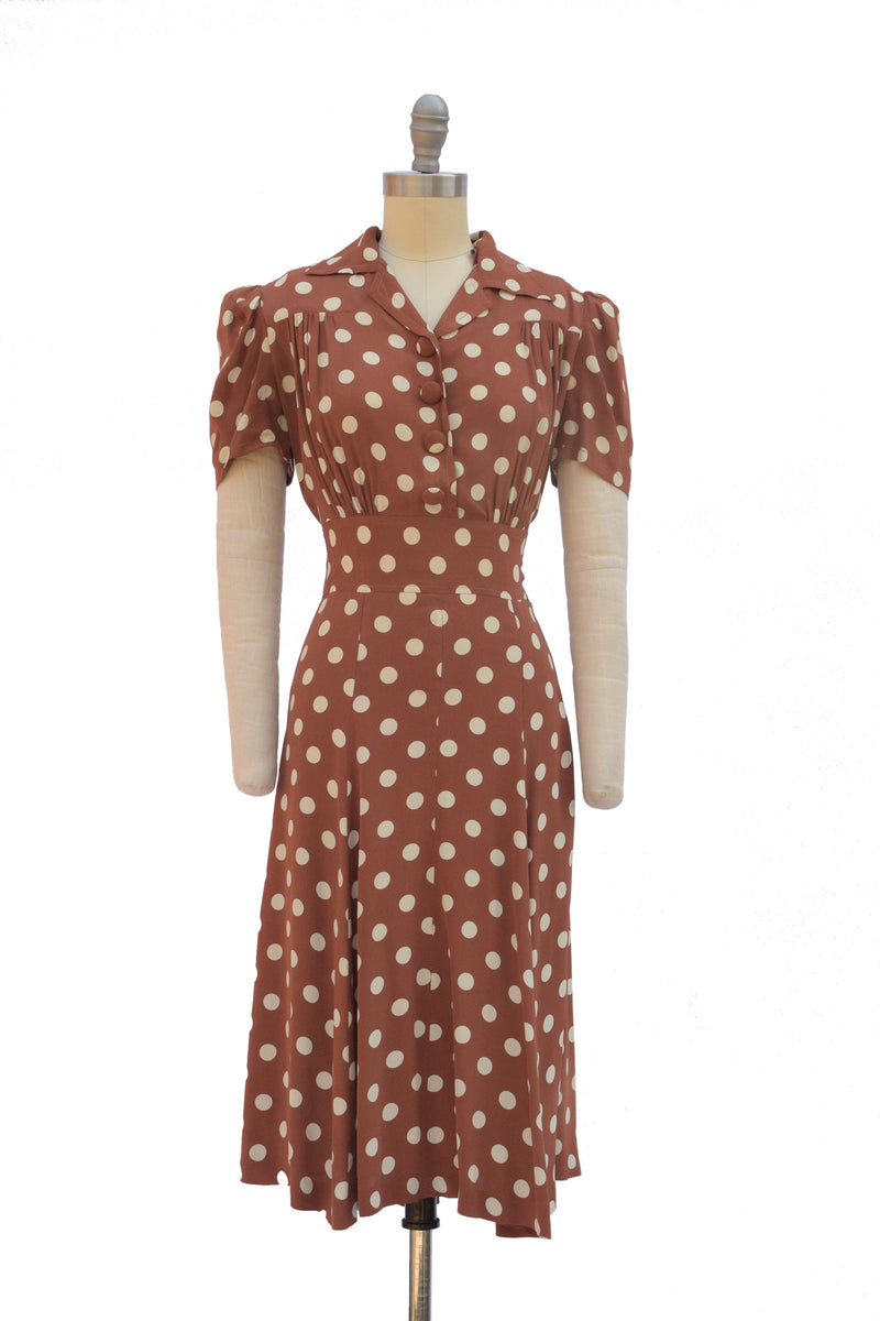 Quintessential Late 1930s Puff Sleeve Dress in Cold Rayon with White Polka Dots on Soft Brown