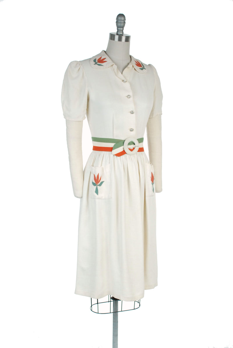 Rare Late 1930s Day Dress with Floral Appliques and Coordinating Belt