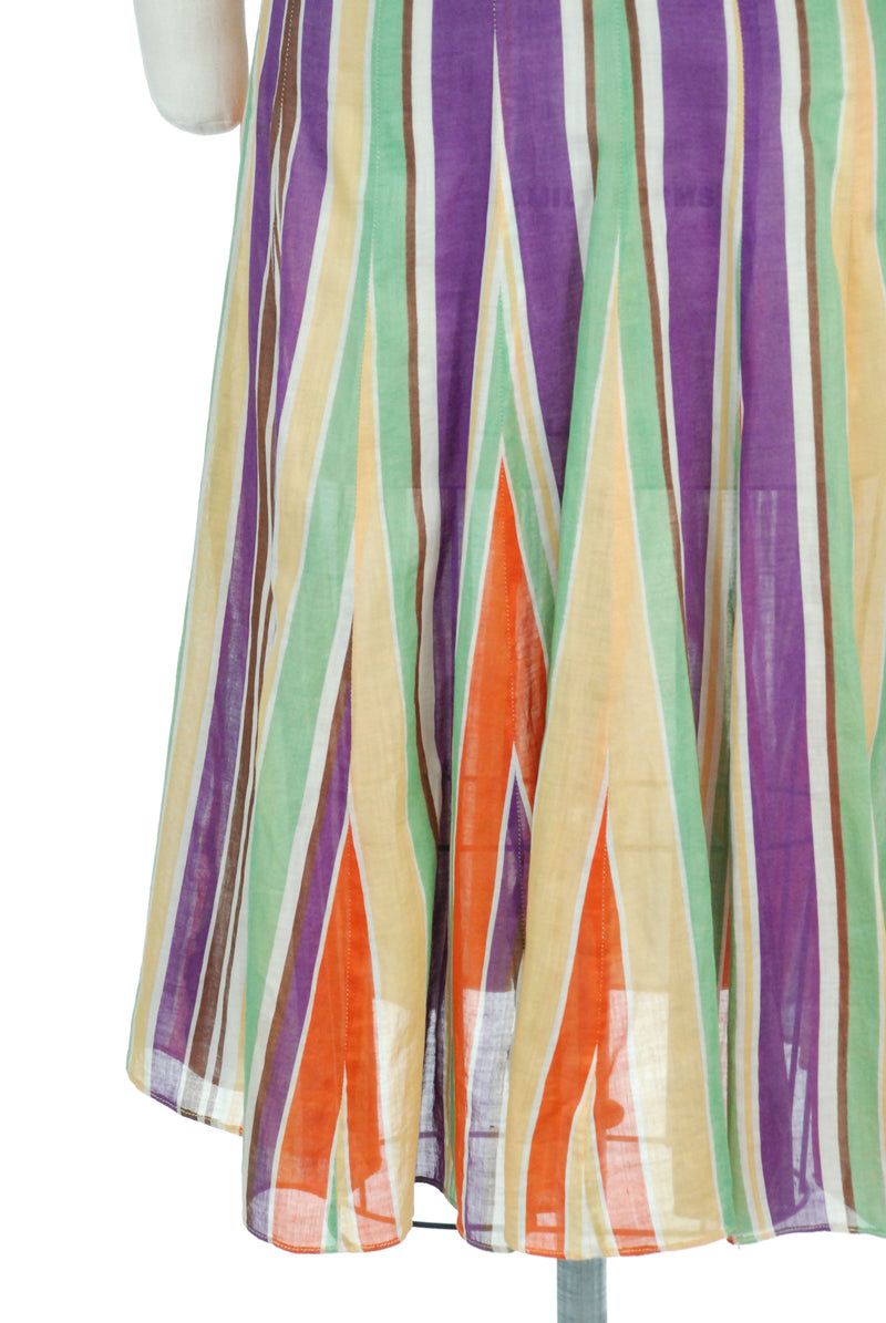 Amazing Late 1930s Rainbow Striped Day Dress in Sheer Cotton