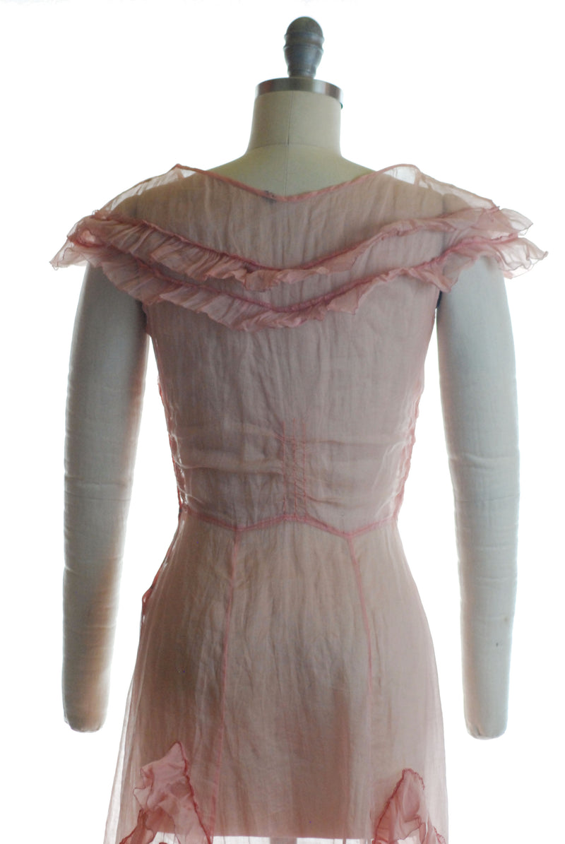 Winning 1930s Pink Organdy Dress with Ruffled Caplet Sleeves