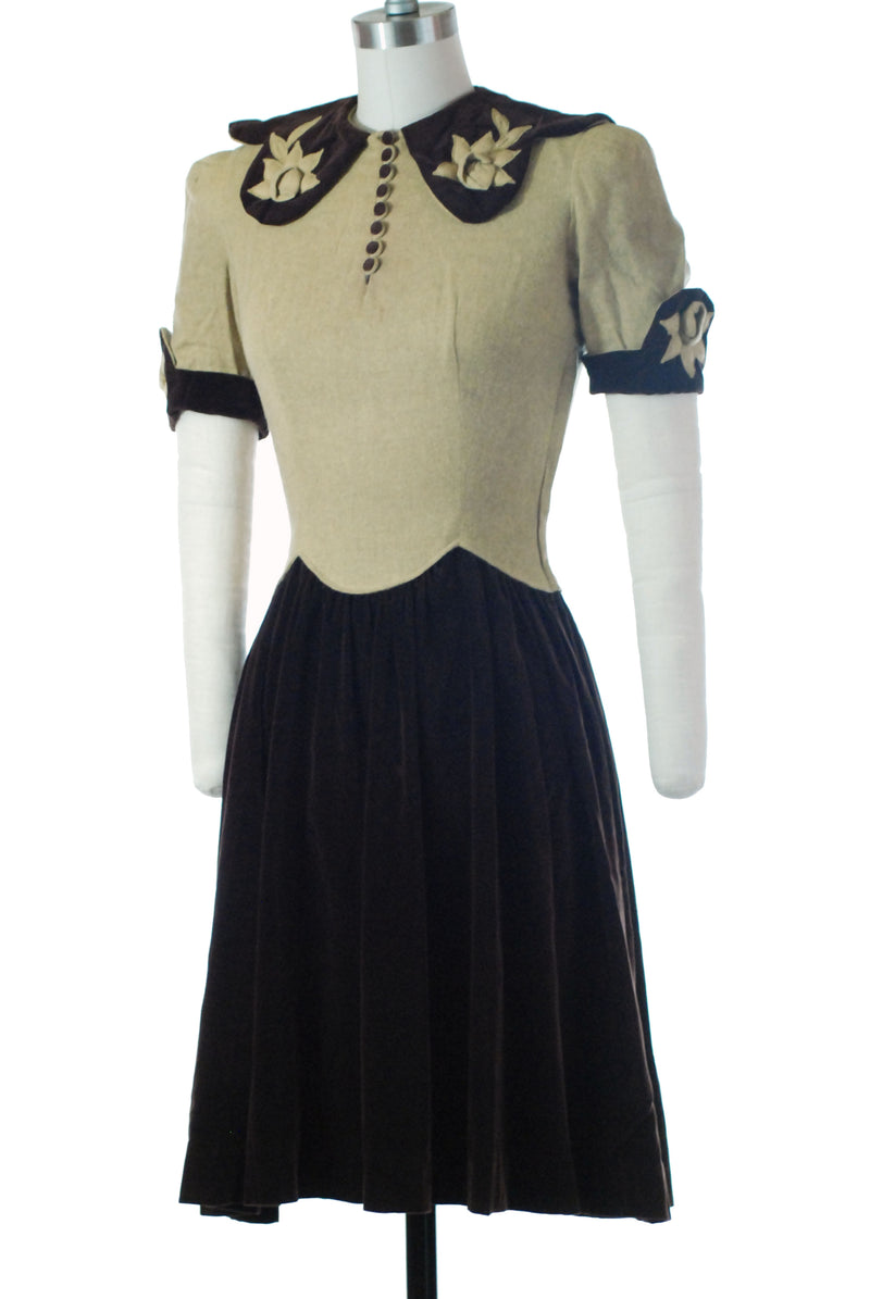 Rare Late 1930s Two Two Juniors Dress in Camel Wool and Brown Velveteen Colorblock with Roses