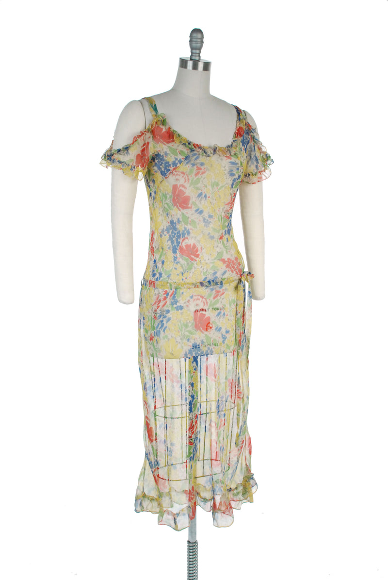 Bold 1930s Ultra Sheer Chiffon Summer Gown Silk Tissue Crepe Chiffon with Wildflower Print