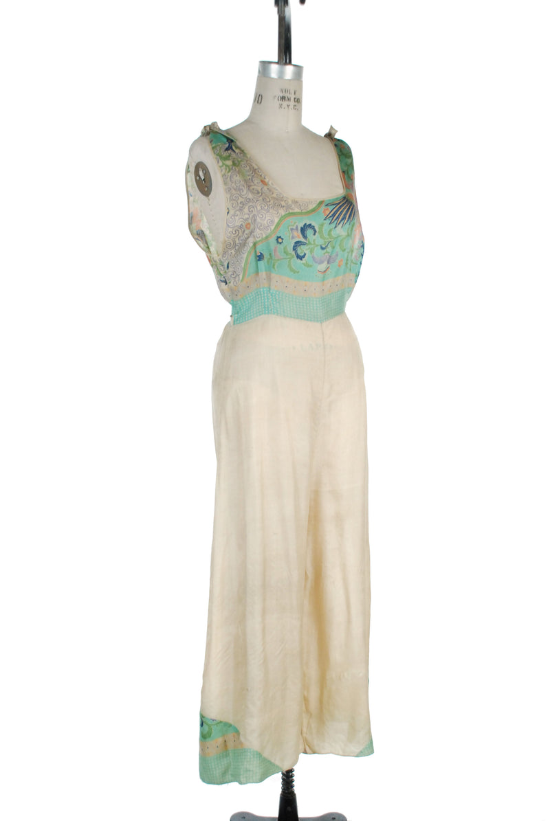 Gorgeous Early 1930s Best & Co. Raw Silk Beach Pajamas/Lounge Jumpsuit with Phoenix Motif