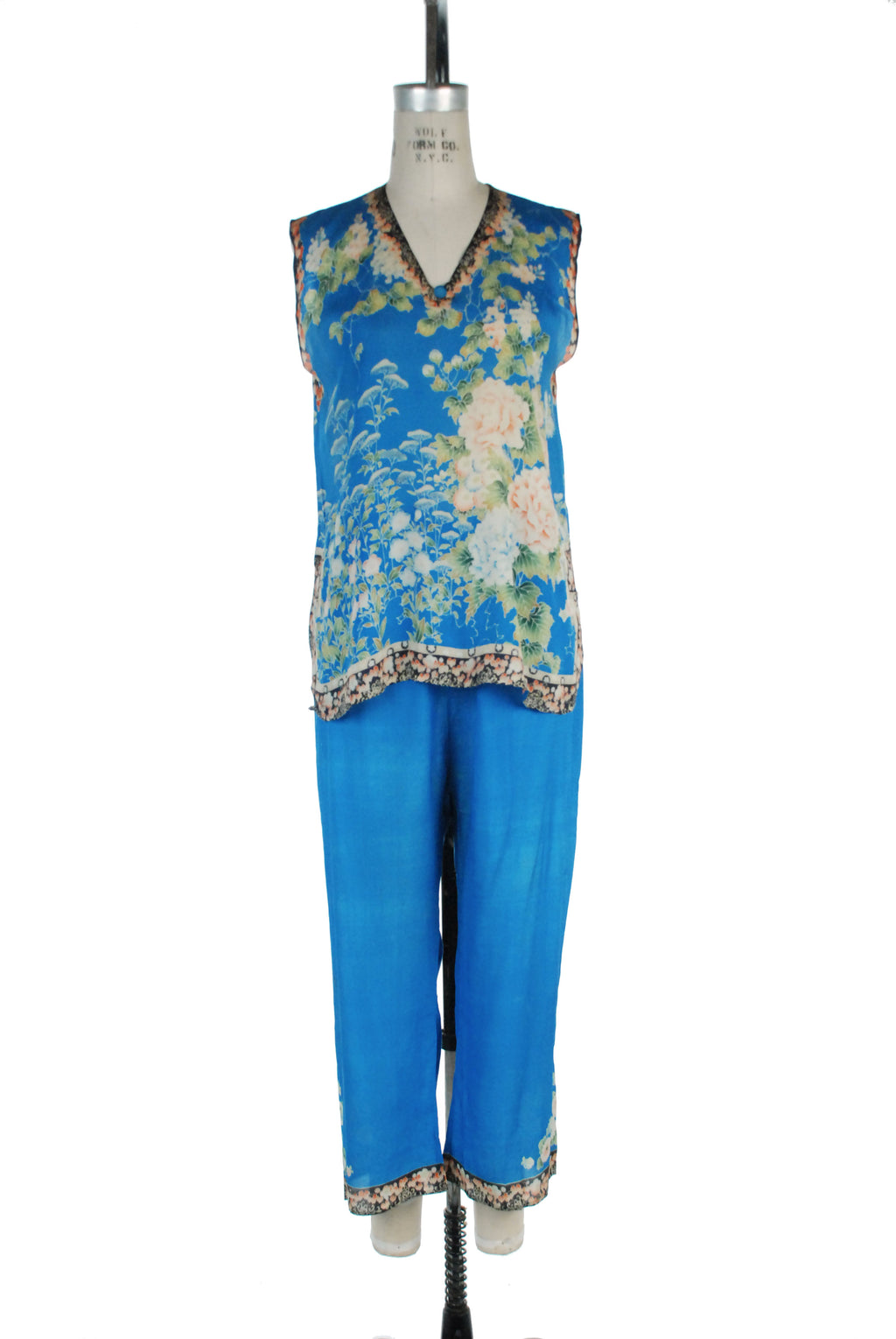 Gorgeous 1920s Chinese Cocktail Pajamas in Blue Pongee Silk with Famille Roses
