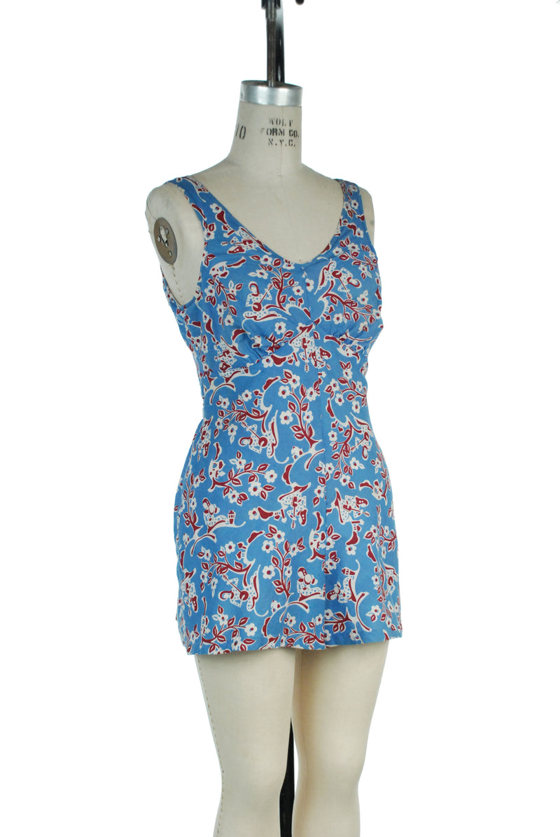 Cute Late 1930s Cotton Swim and Sun Playsuit Romper with Novelty People Print
