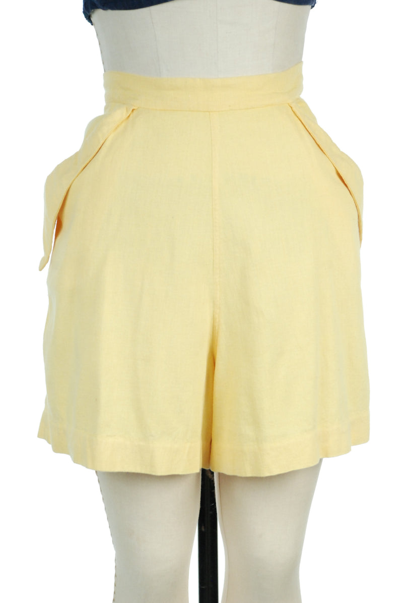 1940s Shorts in Summery Sunshine Yellow with Dramatic Pockets